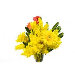 8 MARZO,  Mimosa, gerbere e tulipani