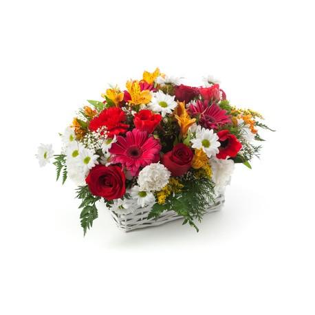 Composizione di fiori rosa in cesto for Fiori gerbere