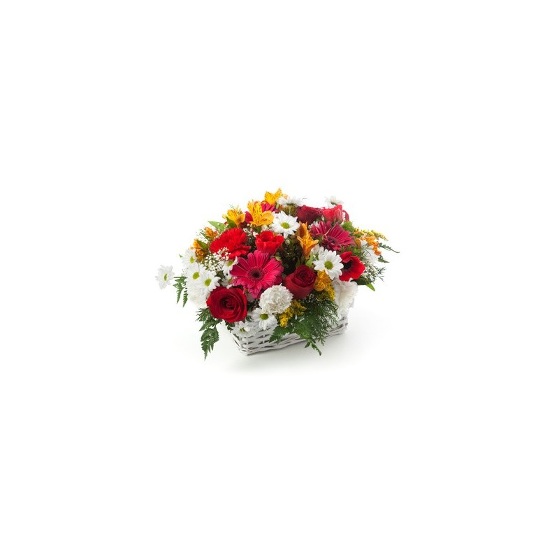 Basket with red roses, gerbera daisies white