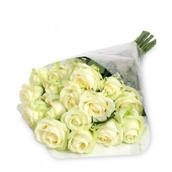 Bunch of 10 white roses with green berries and leaves of green