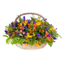 Large basket of Sunflowers, iris, roses orange and red berries