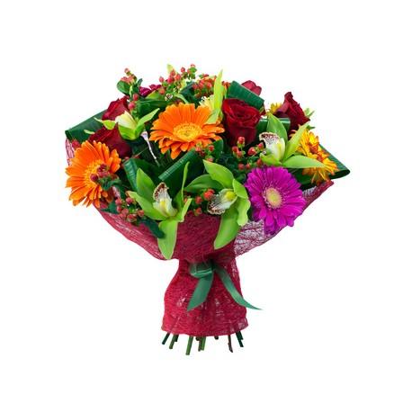 Букет гербер,орхідей і червоних троянд