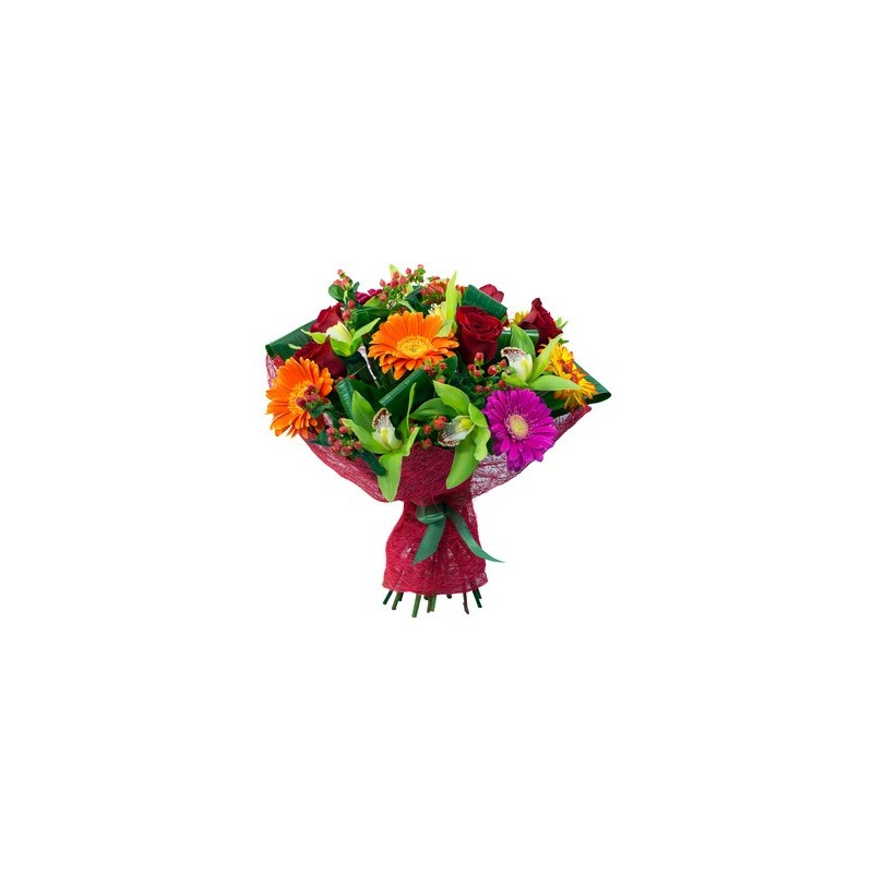 Bouquet of gerberas,orchids and red roses