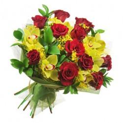 Bouquet de Roses Rouges et d'Orchidées