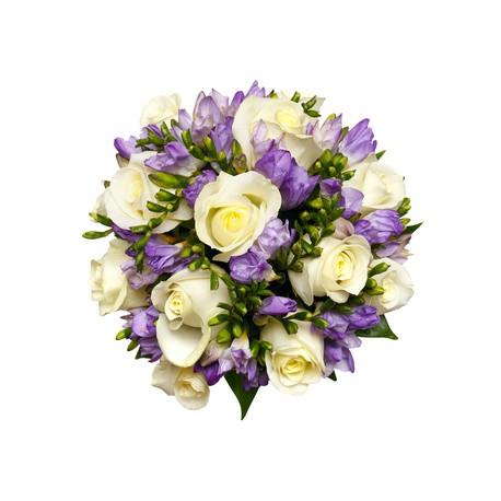 12 білих Троянд з ароматних фрезій