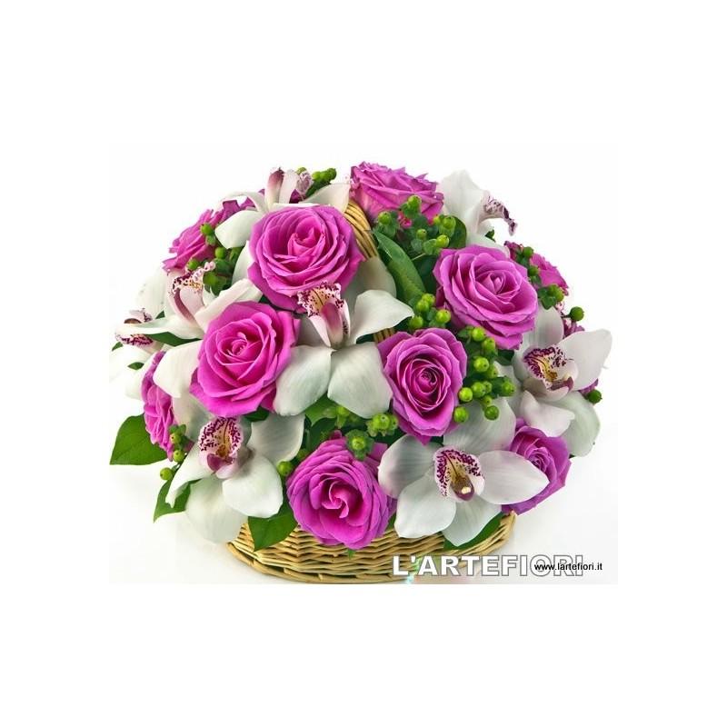 Basket of roses aqua white orchids..