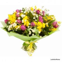 Mimosa7-   Bouquet tulipani e mimosa
