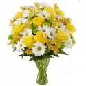 Bouquet Mix Giallo e Bianco con rose e margherite