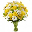 Bouquet Mix of Yellow and White with roses and daisies