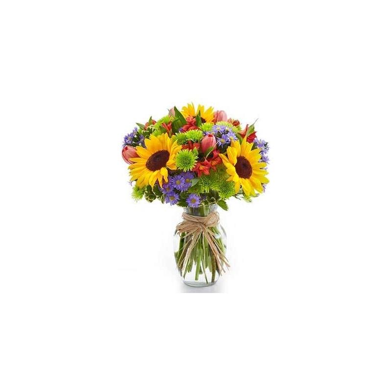 Bouquet di girasoli e fiori blu