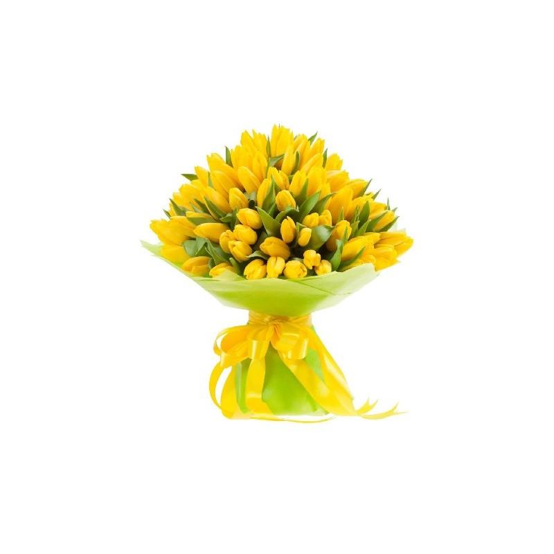 Gran fascio di tulipani gialli