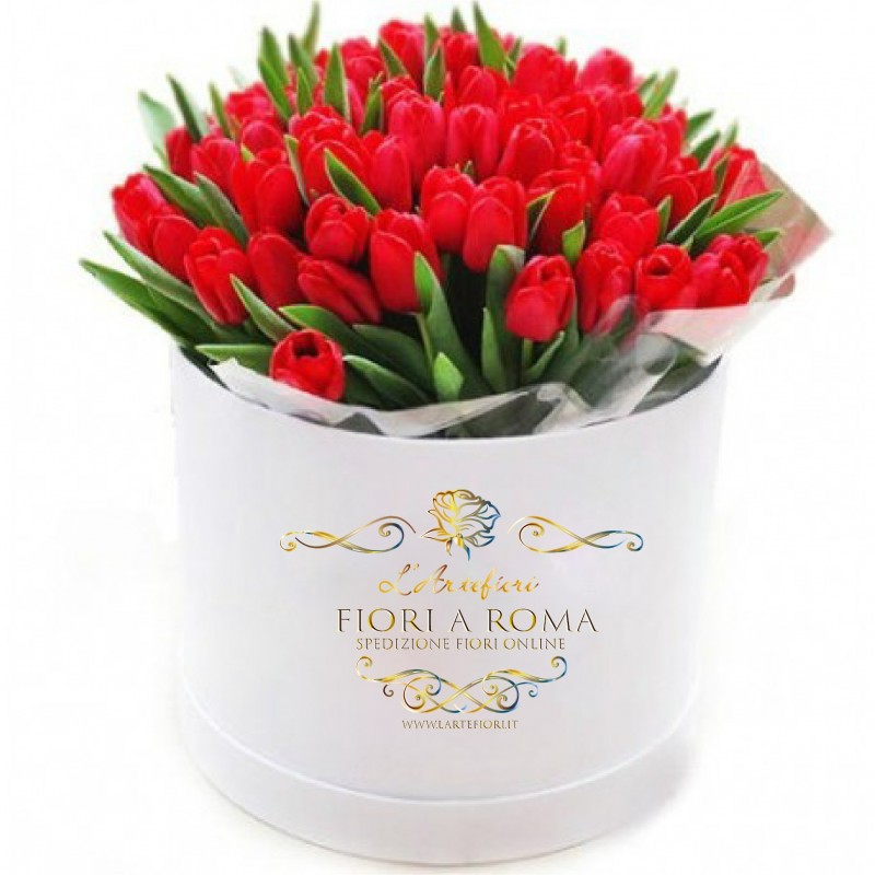 Box special red tulips