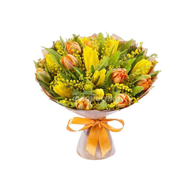 Bouquet of yellow tulips and blue iris flowers