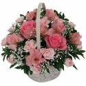 Compositions of flowers in a basket by the pink tones