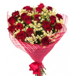 A Bouquet of Two dozen red roses and white daisies