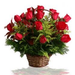 Cesto di 24 rose rosse a stelo alto
