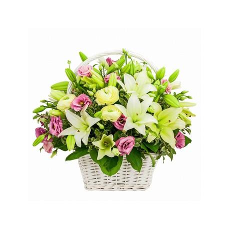 Composizioni di fiori in cesto