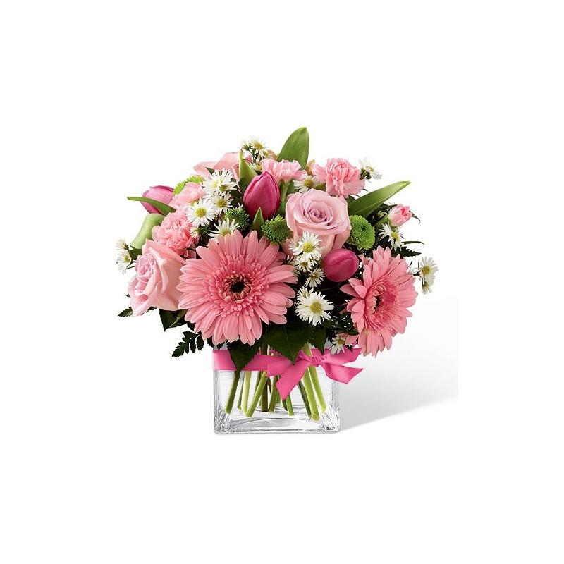 The composition and the glass hydrangeas-roses-alstroemeria-and-carnations