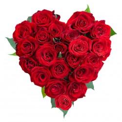 El corazón de 21 de rosas rojas