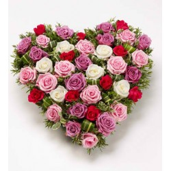 heart of red roses,pink,white and fuschia