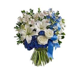 Bouquet bianco  per Lei e Blu per il nuovo arrivato