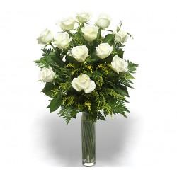 A dozen white roses