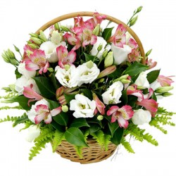 A basket of flowers combination from the colors pink and white