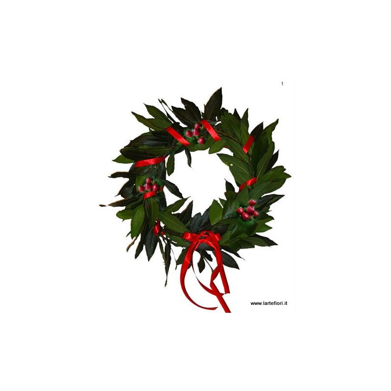 Wreath of laurel leaves with berries and red ribbon