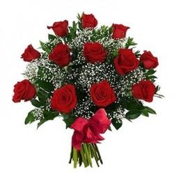 Una dozzina di rose rosse in fiori di nebbia
