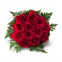 Lovely bouquet of yellow roses with red fern leather