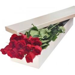 Una dozzina di rose rosse in scatola