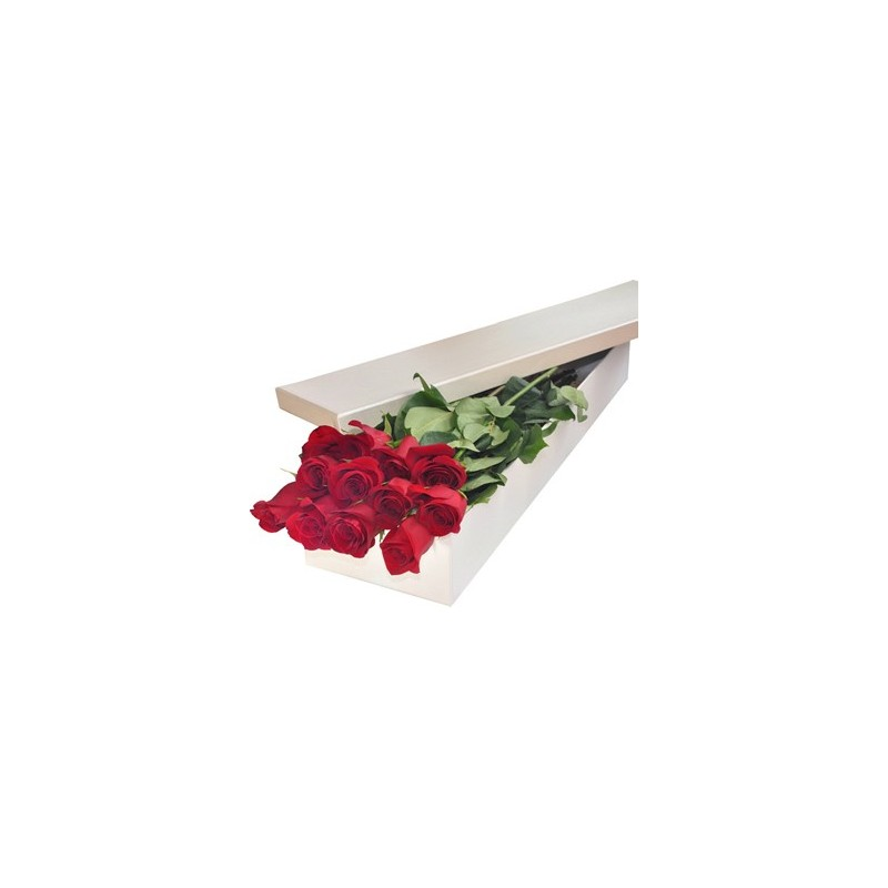 A dozen red roses in a box