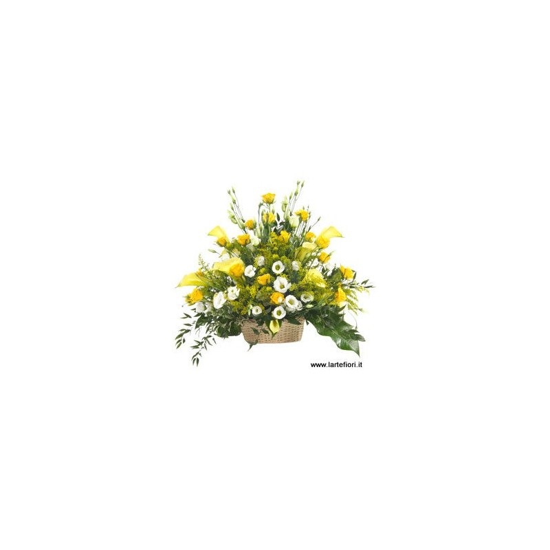 Basket funeral with yellow roses, calla lisianthus white