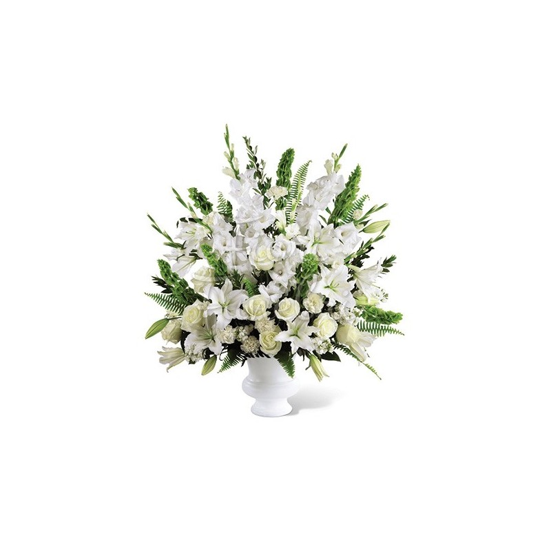 Large Basket with lilies, carnations, white roses and gladioli, white