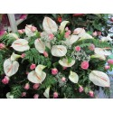 Pillow funeral d with white and pink flowers