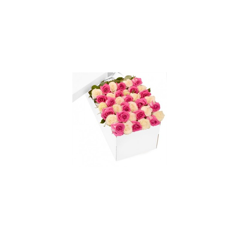 Combination of pink Roses and white box