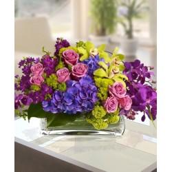 Prestigiosa composizione con mix di orchidee,ortensia blu e macchie di verde