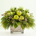 Elegant Composition in a glass vase with green apples,berries and green decorative