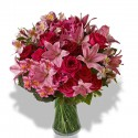 The combination of the twelve rose pink, fuchsia,lilies and alstroemeria pink