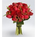 Bouquet of red tulips and red roses