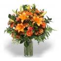 Beam lilium gerbera daisies by the tone of orange in the green leaves