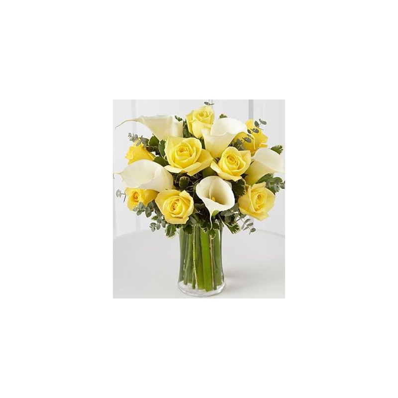 Yellow roses and white callas