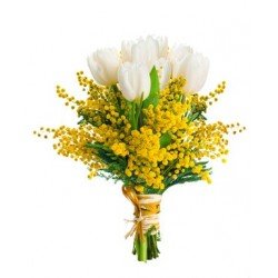 -Bouquet white tulips mimosa in green complementary