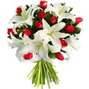 Bouquet of red tulips and white lilies