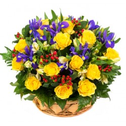 Compositions of flowers in a basket