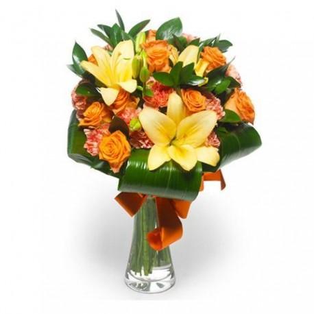 Bouquet de roses rouges d 39 orange et de gili jaune vert for Bouquet de fleurs orange et jaune