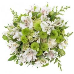 Buchet cu crizanteme albe, santini verde frunze în mobilier