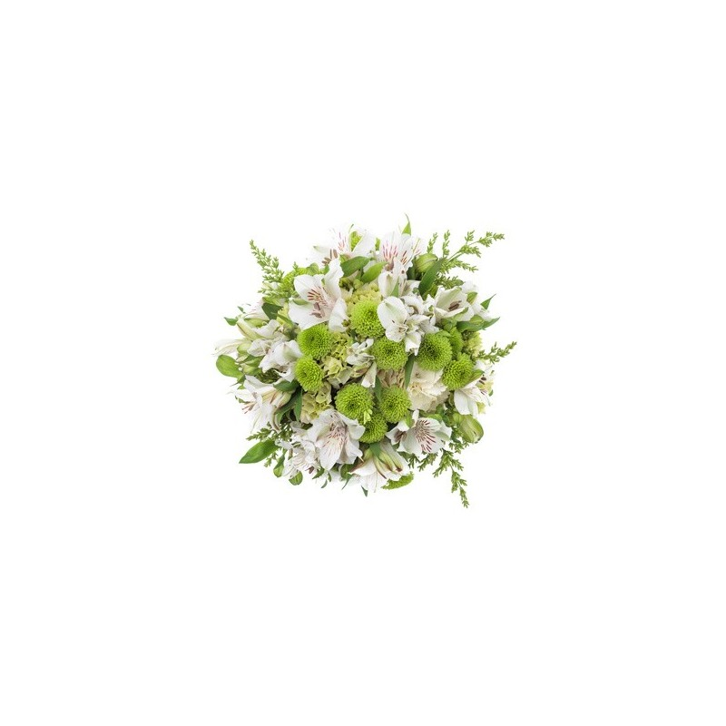 Bouquet lisianthus and white santini green foglied'furniture