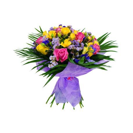 Bouquet de roses jaunes et jaune et fuchsia fleurs for Bouquet de fleurs orange et jaune