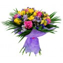 Bouquet of yellow roses and yellow and fuchsia flowers complementary